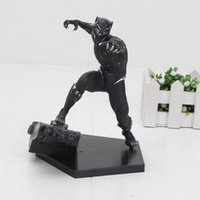 maravilha figuras de ação de super-heróis venda por atacado-Marvel 17 cm Superhero Black Panther Os Vingadores PVC Action Figure Toy