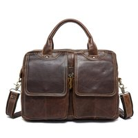 Wholesale vintage laptop messenger bag for sale - Group buy Vintage Solid Men Business Large Bag Man Genuine Cow Leather Work Shoulder Messenger Bag Laptop Square Briefcase Handbag