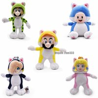 Wholesale peach cosplay resale online - Mario D World Mario Bro Cospaly Plush Land Princess Peach Cosplay Cat Plush Toy Soft Stuffed Doll
