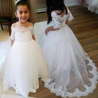 Wholesale yellow shorts size 5t girls for sale - Group buy Lovely White Lace Flower Girl s Dresses For Vintage Wedding Party Sheer Neck Half Long Sleeves Plus Size Little Baby First Communion Gowns