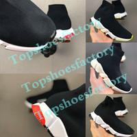 high top athletic schuhe schwarz groihandel-2020 Mode für Kinder Socken Stiefel Kinder Sportschuhe beiläufige Ebene Speed Trainer-Turnschuh-Jungen-Mädchen Hoch-Spitze Laufschuhe Schwarz Weiß 24-35
