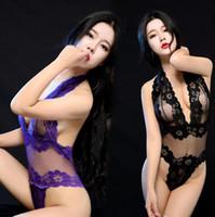 roupa interior de malha sexy para mulheres venda por atacado-Mulheres Sexy Pijamas Malha Um Pedaço Profundo V neck Lace Underwear Roupas Vestidos