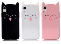 Wholesale lovely cat iphone online - 3D Cat Smile Soft Silicone Case For iPhone XS MAX XR Iph X Plus SE S Cute Lovely Colorful Pink Black Cats Gel Glitter Phone Cover