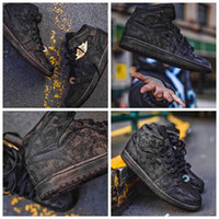 Wholesale retro running resale online - CLOT x Mid Fearless Edison Chen Basketball Shoes black silk double ribbed version Retro Mens running Shoes Sport Sneakers CU2804
