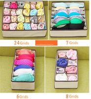 unterwäsche-aufbewahrungsbox großhandel-4pcs / set underwear organizer bh schal socken zu hause aufbewahrungsbox 6 + 7 + 8 + 24 gitter vlies faltbare fall schublade teiler cube container
