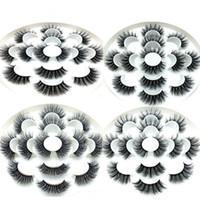 sahte mink kirpikler toptan satış-3D Vizon Kirpikler Doğal Yanlış Eyelashes Uzun Kirpik Uzatma Sahte Sahte Göz Lashes Makyaj Aracı 7 Çift / takım RRA649