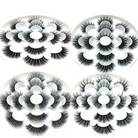 ingrosso natural false eyelashes-Ciglia di visone 3D Ciglia finte naturali Estensione ciglia lunghe Faux Finto Eye Lashes Makeup Tool 7 Pairs / set RRA649
