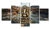 indien elefanten großhandel-Moderne Wohnzimmer Wand 5 Panel Indien Elefant Kopf Gott Wohnkultur Kunst Malerei Modulare Bilder Leinwand Kein Rahmen