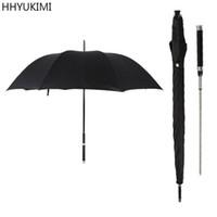 şemsiye modası toptan satış-Hhyukimi Marka Moda Uzun Saplı Adam Otomatik Şemsiye Rüzgar Geçirmez Iş Kılıç Savaşçı Kendini savunma Güneşli Yaratıcı Şemsiye T8190619