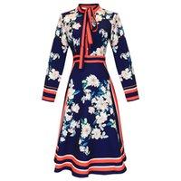 diseñador de moda vestido de la pista al por mayor-Vestidos de pasarela para mujer Cuello de arco Manga larga Rayado Impreso floral Diseñador de moda Vestidos informales
