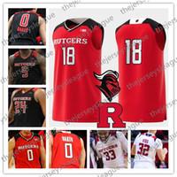 juvenil 23 camisetas rojas de baloncesto al por mayor-Rutgers Scarlet Knights Custom Cualquier nombre Número Cosido Negro Rojo Blanco # 5 Eugene Omoruyi 0 Geo Baker 23 Montez Mathis Baloncesto Jersey