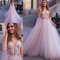 Wholesale wedding dresses turkey resale online - Princess Wedding Dress D Flowers Sleeveless Appliques Lace Tulle illusion Pink Turkey Wedding Bride Gowns With Wrap