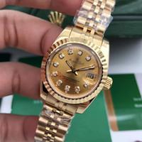 diamantes de aço novo relógio de mulher preto venda por atacado-Luxo Novo Aço Inoxidável Sapphire Assista Mulheres Lady Diamante Mecânico Automático de Prata Ouro Preto Branco Datejust 26mm