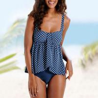 impresión de gran tamaño al por mayor-Traje de baño de gran tamaño para mujer conjunto de bikini empuja hacia arriba Retro-Wave-Point impreso monokini bikinis tallas grandes traje de baño traje de baño 3XL