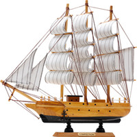 holzboot schiff modell großhandel-Mittelmeer Holz Handwerk Segelboot Figur Ornament Vintage Simulation Segelboot Modell Schiff Home Office Desktop Decor Geschenk J190712