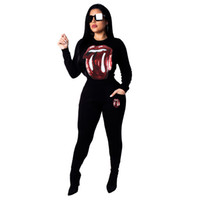 Wholesale two lipsticks for sale - Fashion casual lipstick sequin round collar long sleeve suit black yellow pink outfit woman set sweatsuits autumn winter piece tracksuit