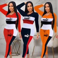 barboteuses sexy de l'armée achat en gros de-Femmes deux pièces Set Tenues o-cou à manches longues et un pantalon long Survêtement vêtements sexy femmes de jogging klw1807