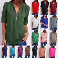 blusas largas sueltas de gasa al por mayor-16colors Women Chiffon Loose Top T-Shirt Manga larga con cremallera Cuello en V Camiseta para mujer Blusa Camisa sobre tamaño ropa para el hogar 60pcs LJJA2357