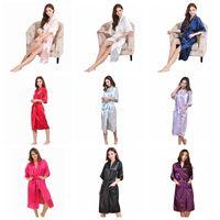 nedime gelin kıyafeti toptan satış-9 Renkler Kadınlar Ipek Katı Robe Gelin Düğün Gelinlik Gelin Kıyafeti kimono Uzun Pijama Yaz Gece Bayan Pijama LJJA2508