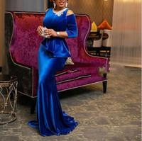lüks artı boyut maxi elbiseler toptan satış-Afrika Parti Şık Lüks Seksi Ofisi Bayanlar Kadınlar Uzun Elbise Plus Size Mavi fırfır BODYCON Retro Kadın Akşam Maxi Elbise
