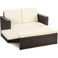 rattan garden sets großhandel-2PCS Patio Rattan Loveseat Sofa Ottoman Daybed Gartenmöbel Set W / Kissen
