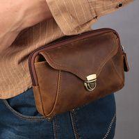 Wholesale men leather waist hip bag resale online - Men Genuine Leather Waist Packs Vintage Crazy Horse Leather Hip Belt Bag Large Men s Phone Pouch Bag Fanny Packs