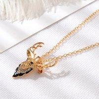 collar de cadena de oro para los niños al por mayor-Collares de Navidad Suéter Collar de cadena de oro para joyería femenina Regalo de Navidad para niños Collar de ciervo plateado plateado