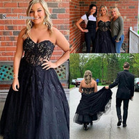 Wholesale plus size yellow wedding dresses online - 2019 Plus Size Black With Lace A line Prom Dress High end Customed Made Vestidos De Novia Party Gown