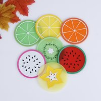 Wholesale Fruit round Shape Silicone Coaster Novelty Cup Pad Slip Insulation Drinks Mat Tableware placemats kitchen accessories high quality