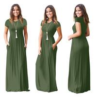 vestidos verdes lisos al por mayor-Vestido largo liso de túnica de manga corta para mujer de verano Vestidos largos casuales con bolsillo Tallas grandes 2xl vestido burdeos negro verde morado cny1521
