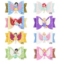 barrettes de arco-íris venda por atacado-Princesa Asas Brilho Bowknot Hairpin Diamante Do Bebê Meninas Cabelo Arcos Barrette Crianças Hairclip Rainbow DIY Acessório de Cabelo A52702
