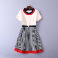 balo elbiseleri kolları baskı toptan satış-327 2019 İlkbahar Yaz Flora Baskı Elbiseler Ekip Boyun Bir Çizgi Diz Boyu Kısa Kollu İmparatorluğu Moda Balo Elbise SH