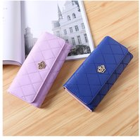 Wholesale purple gold striped tie online - New Crown Women Wallets Fashion Plaid Clutch Lady Purse Famous Brand Designer Long Hasp Purse Money Phone Card Holder Coin Pocket