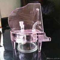 Wholesale piano accessories resale online - Pink piano hookah glass bongs glass hookah smoke pipe accessories