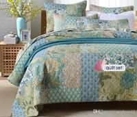 одеяло ручной работы оптовых-Vintage Style QUILT Set 3шт ручной пэчворк Покрывала ватные Одеяла наволочки Покрывало Queen Size Постельные принадлежности Одеяло