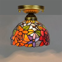 Wholesale red rose led lights for sale - Group buy Cheap tiffany style stained glass ceiling lights inch retro red rose glass ceiling light living room ceiling lampsTF068