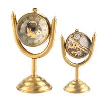 Wholesale desktop globe resale online - Novel Spinning Globe Gold Desk Clock for Unisex Desktop Clock Home Decoration Copper Table Hand winding Movement for Friends