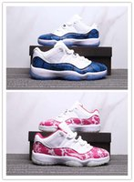 Wholesale denim blue ladies shoes for sale - 11 Low Pink Snakeskin Men Women Basketba Shoes Cheap s Navy Blue Snakeskin mens ladies Sports sneakers trainer With Box