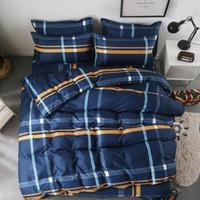 fundas nórdicas a cuadros azules al por mayor-Textiles para el hogar completo Doble Reina Rey Ropa de cama Set Boy Kid adulto Muchacha de cama traje a cuadros azul funda nórdica Hoja de la funda de almohada