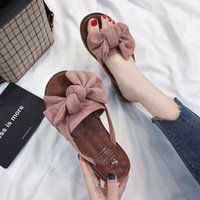 Wholesale cute feet sandals for sale - Group buy Summer Korean version of the joker flat bow flip flops women s fashion outside wearing foot sandals cute plush womens slippers