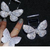 Wholesale 925 butterfly rings for sale - Group buy Choucong Sparkling Luxury Jewelry Internet celebrity Sterling Silver Pave Full White Sapphire CZ Diamond Butterfly wings Women Ring Gift