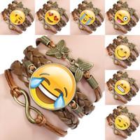 ingrosso roping artificiale-Multi-strato regalo creativo Unisex Emoji Bracciale Favore di partito Bracciali in pelle artificiale Accessori Lega Retro Braccialetto Corda Catena M433Y