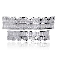 ingrosso set di gioielli diamante-Nuovo Baguette Set Denti Grillz Sopra Sotto Silver Colore Griglie dentale bocca Hip Hop gioielli di moda Rapper