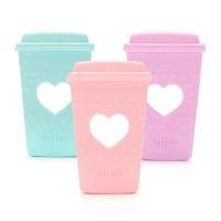 fda bpa großhandel-Große Kaffeetasse Beißring FDA genehmigt Baby sicher Kinderkrankheiten Spielzeug Silikon sensorisch DIY Kinderkrankheiten Schmuck Pflege Halskette Anhänger Dusche Geschenke