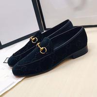 schwarze satinkleidschuhe großhandel-Black Velvet Loafers Männer und Frauen Universal Velvet Casual Dress Schuhe Frau