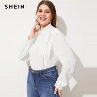 blusa de colar de babados mais tamanho venda por atacado-SHEIN Plus Size Inserção De Renda Branca Bordado Blusa Plissado Mulheres Elegantes Primavera Gola de Algodão Tops Blusa