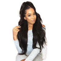 Wholesale lace wigs 1b 24 inch resale online - Synthetic Lace Front Wigs Women Long Natural Wavy Black B Hair Inch Natural Looking Heat Resistant Fiber Wig