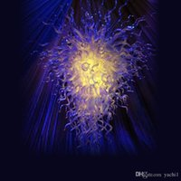 luz colgante de cristal azul moderno al por mayor-Gran venta Chihuly Style Blown Glass Blue Chandeliers Light Modern Crystal Murano Glass Design Chihuly Style Chandelier Lámparas colgantes