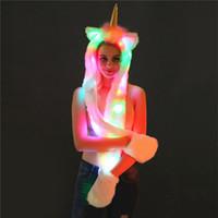 einhorn schal großhandel-Led Leuchten Einhorn Hut Plüsch Kunstpelz Kapuze Schal Für Frauen Mädchen Kostüm Dress Up Outfit Halloween Xmas Party Supplies WX9-1541