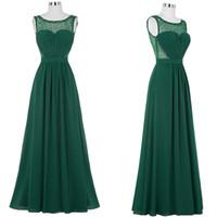 vestidos de dama de gasa abalorios al por mayor-Vestidos de noche verdes Vestidos largos formales Con cuentas Una línea de gasa sexy Pliegues Más el tamaño Vestidos de dama de honor Vestidos de gala Robe De Soiree
